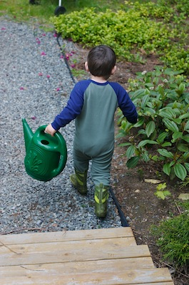 Jammies. Check. Boots. Check. Watering Can. Check
