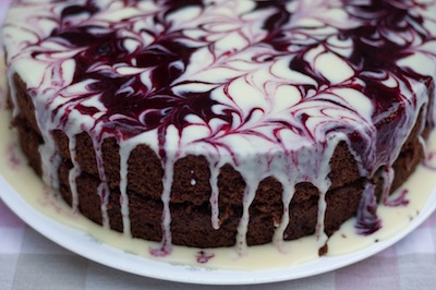Devils Food cake with White Chocolate Ganache and Blackberry Swirl
