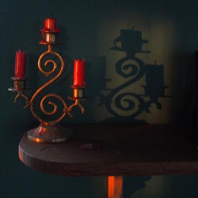 a candelabra at sunset