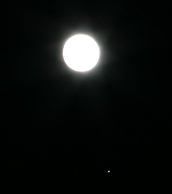 Moon and a planet, probably mars