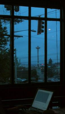 The space needle at dusk.
