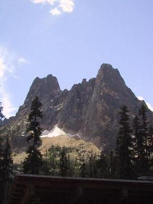 Liberty Bell, the big mountain overlooking Washington pass.  There are a few two day rock climbing routes up it.
