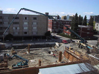 Library construction, with concrete pump.