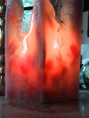 A hand made pillar candle.