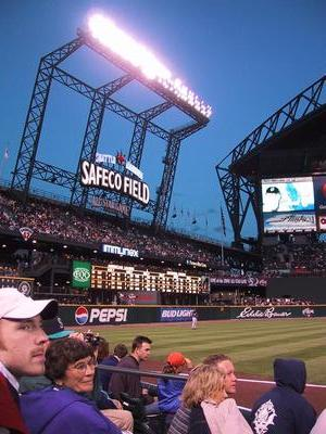 The Safeco Sign.  The weather was beautiful. The sky just kept getting a darker blue. No clouds, no rain, no roof. They should have left it off and saved 100mil.