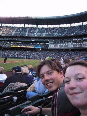 Scott got me the ticket to the game, and he even got one for his sister. (and her roomate too, but she's not in the picture)