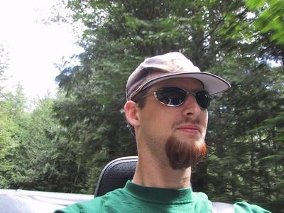 Self portrait, on the road down from Stevens Pass.